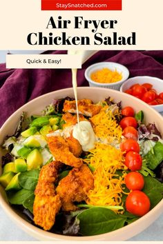 This Crispy Fried Chicken Salad is the perfect meal to add fresh vegetables to a weeknight meal. This dish is made with strips of chicken breasts or tenders and paired with greens, shredded cheese, and your favorite dressing. Fried Chicken Salads, Crispy Fried Chicken, Healthy Chicken Recipes, Healthy Food, Easy Weeknight Dinners, Quick Easy Meals, Country Cooking, Delicious Dinner Recipes, Soul Food