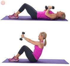 Try moves like the sit up press for a modified HIIT workout that's easy on the knees.