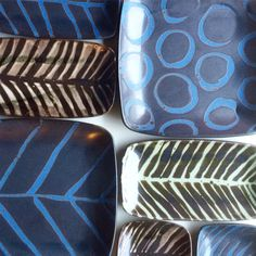 Ceramic Ruutu Dishes. Different patterns.