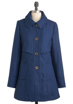 Mon Courier Coat by Tulle Clothing - Long, Blue, Solid, Buttons, Long Sleeve, Fall, 2, Pockets