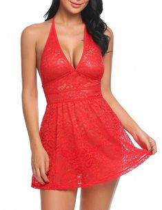1bdd09ebdb Hotouch Womens Red Lingerie Lace Babydoll Dress Sleepwear Lace Floral  Chemises     Visit the image link more details.