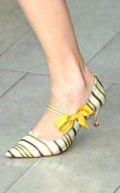 Yellow stripe kitten heels