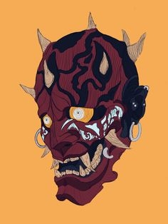 Star Wars Concept Art, Star Wars Art, Japanese Mask, Japanese Dragon, Japanese Demon Tattoo, Character Art, Character Design, Arte Ninja, Samurai Artwork