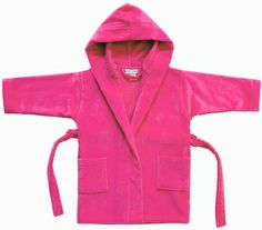 Kids Velour Terry Cover-Up in Hot Pink