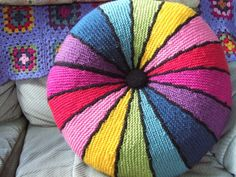 Awesome Rainbow Knitted Cushion – It's Round!