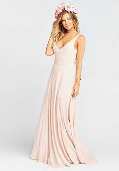 Show Me Your Mumu Jenn Maxi Dress - Dusty Blush Crisp V-Neck Bridesmaid Dress