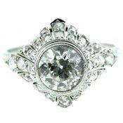 Platinum 1.75 Carat Old European Diamond Ring      Circa 1915     $12,000