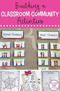 Help build a classroom community at the beginning of the year. Check out these activities to teach students get to know each other, learn about friendship, good choices, and more! Special Education Classroom, Primary Classroom, Kindergarten Classroom, Kindergarten Activities, Classroom Activities, Classroom Ideas, Classroom Behavior, Classroom Environment, Future Classroom