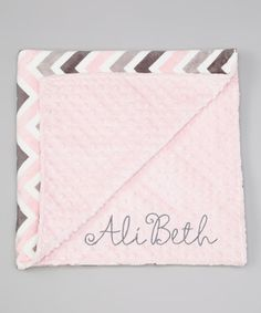 Look at this #zulilyfind! 28'' x 32'' Pink & Silver Chevron Personalized Stroller Blanket by Lolly Gags #zulilyfinds