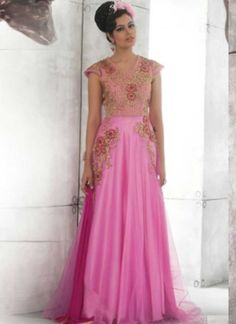 Precious Pink Embroidery Work Net Santoon Evening Gown