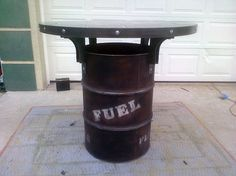 55 gallon fuel drum table barstool height by IndustEvo on Etsy
