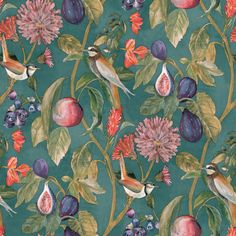 Birds perched among twisting vines decorated with colorful fruits and foliage create a stunningly ornate nature inspired wallpaper. With a painted style, this floral wallpaper makes for a great addition to a statement wall or powder room. Teal Wallpaper, Paintable Wallpaper, Botanical Wallpaper, Animal Wallpaper, Wallpaper Roll, Pattern Wallpaper, Bird Wallpaper Bedroom, Vintage Bird Wallpaper, Bathroom Wallpaper