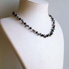 Black Crystal Beads Necklace/Metallic Silver by byseraykacar