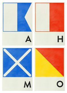 London designer, Hana Tanimura, has created this beautiful set of prints based on the international maritime signal flags.  Each flag is aGiclée print on 310gsm Hahnemühle German Etching paper, in an edition of 20, each signed and numbered. The prints are available in A2, A3 and A4sizes.