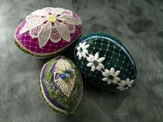 Velvet covered eggs decorated with lace and trims by Jane Corbett.
