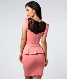 Lace Yoke Peplum Dress - Lipsy London