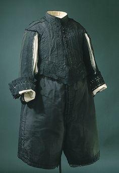 Black silk suit, Swedish, 1650s. Worn by Karl X Gustav of Sweden (1622-1660).