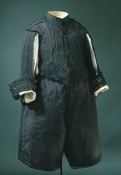Black silk suit, Swedish, 1650s. Worn by Karl X Gustav of Sweden (1622-1660).