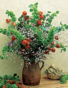 Bells-of-Ireland, Chinese lantern, baby's breath (or similar flower) in old pitcher - lovely!