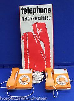 Vtg 1960s Toy Telephone Set/Cowan de Groot/Yugoslavia/Iskra Kranj (Hospiscare)