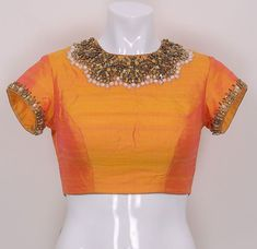 Art Silk Blouse with Hand Embroidery.
