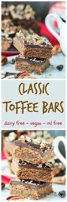 Vegan Toffee Bars that are BETTER than the original recipe. Traditional toffee bars have always been a party staple in my family and now I don't have to feel guilty about eating more than one! NO butter, NO oil, NO dairy, NO refined sugar - just real whole food plant based ingredients! Kid, hubby, neighbor and friend approved!!