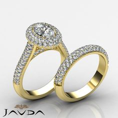 Oval Diamond Halo Pave Engagement Ring GIA H SI1 Bridal Set 14k Yellow Gold 4 ct