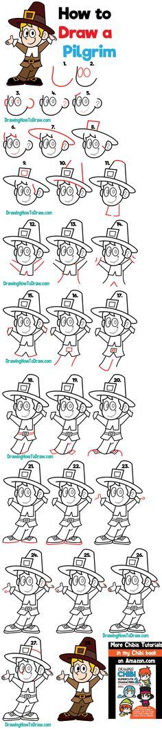 How to Draw a Cartoon Pilgrim for Thanksgiving Easy Step by Step Drawing Tutorial for Beginners - How to Draw Step by Step Drawing Tutorials Funny Pictures To Draw, Funny Pictures Tumblr, Super Funny Pictures, Super Funny Quotes, Funny Mom Quotes, Teach Kids To Draw, Funny Christmas Games, Funny Good Morning Memes, Drawing Tutorials For Beginners
