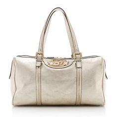 Gucci Metallic Leather Britt Medium Boston Bag