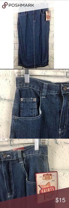 Route 66 Women jean skirt Modest 9/10 W38 Route 66 women jean skirt 9/10 100% cotton modest pockets carpenter #W38PM Waist: 15' Top to bottom: 36' Back slit: 19' Route 66 Skirts A-Line or Full