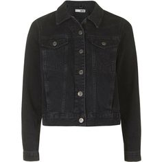 TOPSHOP MOTO Washed Black Western Jacket (98 CAD) ❤ liked on Polyvore featuring outerwear, jackets, coats, denim jacket, black, western jacket, jean jacket, cowboy jacket, topshop and multi pocket jacket