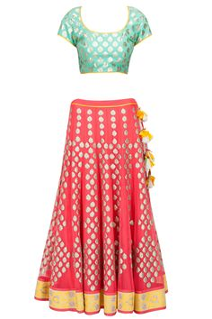 Watermelon pink, blue and yellow applique lehenga set available only at Pernia's Pop-Up Shop.