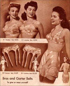"1940s Lingerie  Bra, Girdle, Slips, Underwear History.  "" Correct posture with the correct foundation garment combine to give a woman an attractive figure and will aid her in her quest for health and vitality."" 1948, Foundations for Fashion    #1940sfashion #lingerie #vintage"