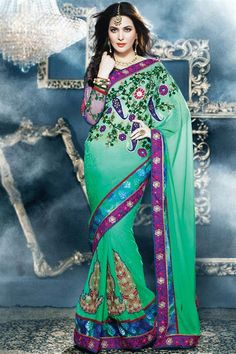 Georgette Blue Designer party wear saree with blouse
