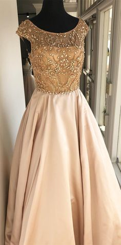 elegant beads champagne long prom dress, 2018 prom dress, prom dress with cap sleeves