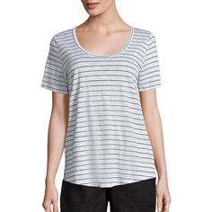 Eileen Fisher Thin Striped T-Shirt ($62) ❤ liked on Polyvore featuring tops, t-shirts, apparel & accessories, short sleeve tee, stripe tee, striped top, short sleeve scoop neck tee and short sleeve tops