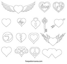 Tattoo Templates, Owl Templates, Applique Templates, Applique Patterns, Love Heart Drawing, Printable Heart Template, Love Heart Symbol, Symbol Drawing, Shape Collage