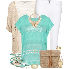 White Pants for Summer, created by jafashions on Polyvore