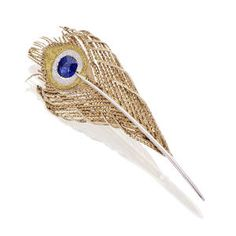 A sapphire peacock feather brooch, 1960s; in the West, the peacock may symbolise beauty, pride, immortality and the Christian Resurrection, as well as the Graeco-Roman goddess Hera/Juno. (Bonhams)