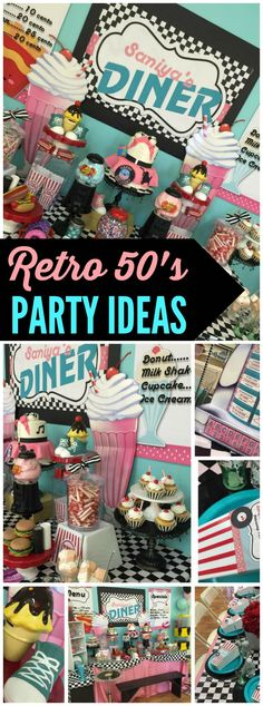 Love the details at this retro sock hop party! See more party ideas at Ca. Love the details Fifties Party, Retro Party, Great Gatsby Party, 50s Theme Parties, Grease Themed Parties, 1970s Party Theme, Themes For Parties, Themes Themes, Event Themes