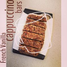 French Vanilla Cappuccino Bars  Makes 6 bars: 1 cup almonds 2 Tbsp coffee/espresso beans 1/2 tsp vanilla extract 1 scoop vanilla Perfect Fit Protein  1 1/4 cup dates 1 Tbsp almond milk Mix together almonds, coffee/espresso beans, vanilla extract, #PerfectFitProtein and process until chopped. Add dates and almond milk until a crumbly texture forms. Firmly press into a loaf pan and let it sit in fridge until chilled. Perfect for M4!