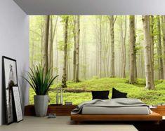 Bosque del resorte Misty - gran Mural de la pared, etiqueta de la pared de papel pintado de vinilo autoadhesivas, Peel & Stick tela