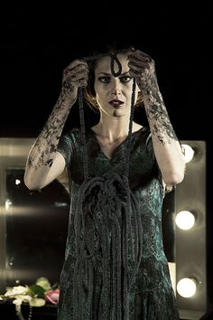 "Lady Macbeth (IDEA: red henna/tattoo–type patterning on hands and arms to indicate blood; key words? the verse ""out, out, damn spot""?)"