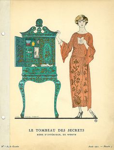 Designer: House of Worth    Date: 1922    Description: Orange indoor dress by Worth