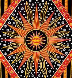 Amazon.com: ModTradIndia - Celestial Sun Moon Stars Planet Tapestry, Indian…
