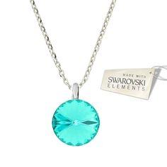 Náhrdelník Rivoli s kryštálom Swarovski Elements Light Turquoise 12 mm  Divine Jewellery eshop 29d2d3bf6d3