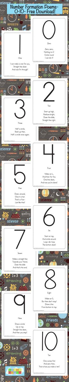 Kids to WRITE the Numbers Number Writing Poems Freebie from HeidiSongs-(for teaching children number formation)Number Writing Poems Freebie from HeidiSongs-(for teaching children number formation) Teaching Kids To Write, Teaching Numbers, Numbers Preschool, Writing Numbers, Preschool Learning, Kindergarten Classroom, Teaching Math, Preschool Activities, Number Activities