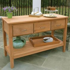 Teak Outdoor Buffet - Berwick Outdoor Buffet Tables and Serving Furniture - Country Casual Sheesham Wood Furniture, Teak Outdoor Furniture, Porch Furniture, Kitchen Furniture, Furniture Ideas, Furniture Design, Outdoor Buffet Tables, Patio Table, Outdoor Seating
