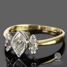18ct #gold #ring #comprising three #marquise cut #diamonds