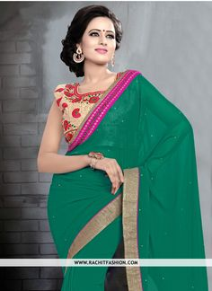 Make yourself looking ‪gorgeous‬ and let all eyes follow you wearing this ‪‎Georgette‬ Sea ‪‎Green‬ ‪‎Saree‬.